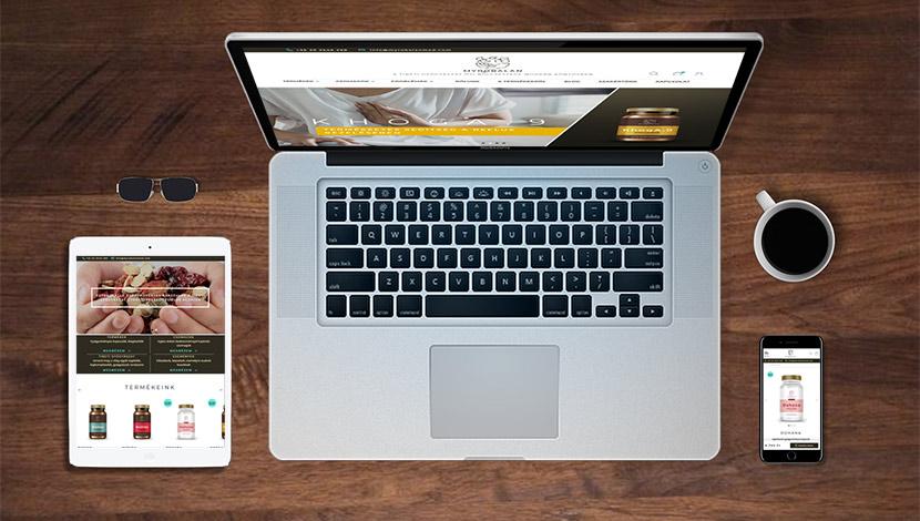 Myrobalanmed.com webáruház megújítása során webfejlesztés, design testreszabása, új funkciók leprogrogramozása.